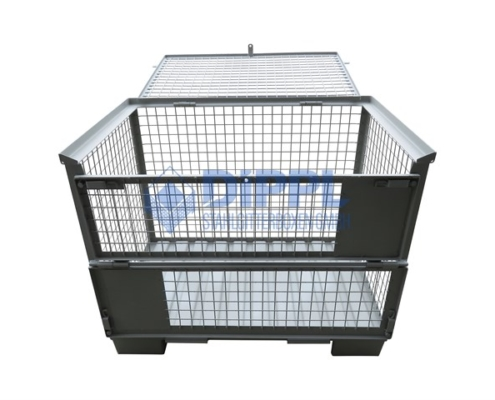 Gitterboxen mit Deckel und Stahlblechboden