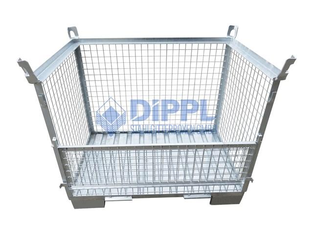 verzinkte Gitterboxen mit Ösen und Stahlblechboden